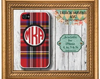 Personalized iPhone Case, Tartan Plaid Monogram iPhone Case, Fits iPhone 4, iPhone 4s,  iPhone 5, iPhone 5s, Phone Cover, Phone Case