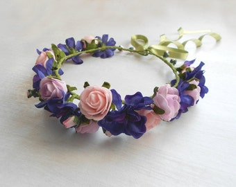 Floral Hair Wreath / Lavander and Lilac Color Headpiece of Blooms / Handmade Hair Accessory