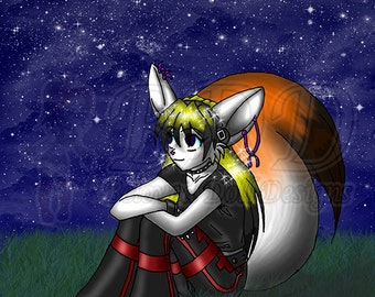 Anthro Fox Girl Art Print 5x7 and 8.5x11 #542 DJ Fox Sitting in a Field at Night