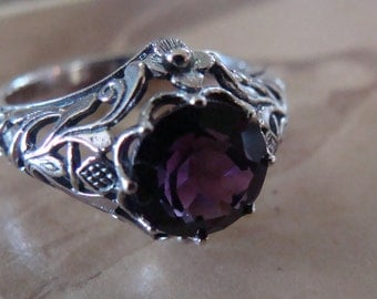 Art Nouveau design Sterling Silver Amethyst  Ring  Size 5.75