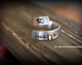 Hand stamped wrap ring personalized sports spiral wrap ring