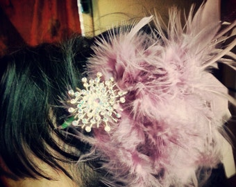Cotton Candy Feathered Fascinator with vintage sparkle