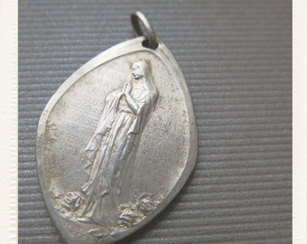 Antique French Art Nouveau 1914 Silver Religious Medal Our Lady Virgin Mary in Lourdes Grotto - signed Falize pendant from Lourdes France