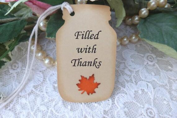 Handmade Thank You Wedding Gifts : Items similar to Wedding Thank You Tags Handmade Mason Jar with Leaf ...