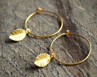 Gold Leaf Charm Earrings- Minimalist Earrings- Small Hoop Earrings