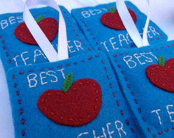 Best Teacher Small Felt Hanger Hand Embroidered.