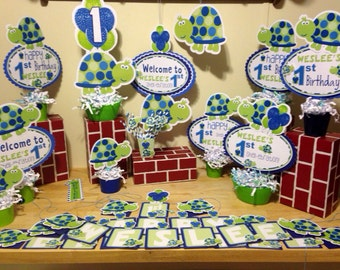 Birthday Blue and Green Turtle Party Pack