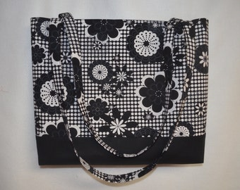 Black & White Tote Bag/ Beach Bag/ Diaper Bag/ Bridesmaid Bag