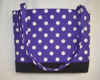 Large Purple Polka Dot Beach Bag/ Tote Bag/ Diaper Bag/ Bridesmaid Bag