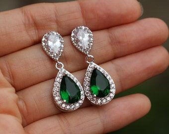 silver green earrings bridal jewelry emerald green earring wedding jewelry