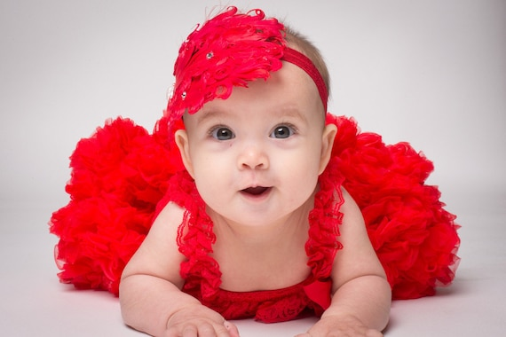 The Valentine's Red Pettiskirt, Lace Pettiromper and Vintage Style Nagorie Feather Heart Headband Baby Girl Set