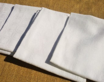 4 White Damask Napkins Antique French Handmade Napkins Cotton Made #sophieladydeparis