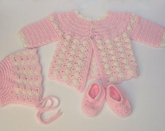 Baby Girl Sweater, Hat & Booties Handmade Crochet