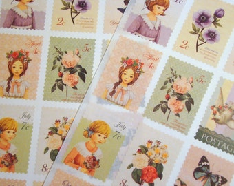 Retro Postage Stamp Stickers - Lovely Girls Petit Scrapbooking Stationery Deco