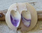 Purple Wampum Seashell Earrings