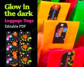 Glow in the Dark Party Neon Color Luggage Tags - Editable PDF