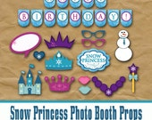 Snow Princess Photo Booth Props and Decorations - Printable Props and Banner - Frozen Winterland - Digital Download- INSTaNT DOWNLoAd