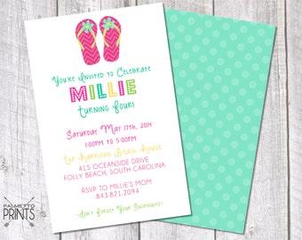 Flip Flop Pool Party Birthday Invitation- 8.5x 5.5 Printable Invitation