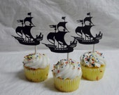 Pirate Ship Cupcake Toppers, Pirate Birthday Party