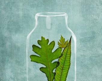Leaf Jam, Turquoise, Oak Leaf, Maple Leaf, Home Decor Art Print, Surreal Illustration, Bright Green, Kitchen Art Print