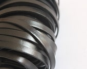7mm Real Flat Leather Cord, 6 feet Leather Strip, Black Genuine Flat Leather String, Jewerly Leather String Cord