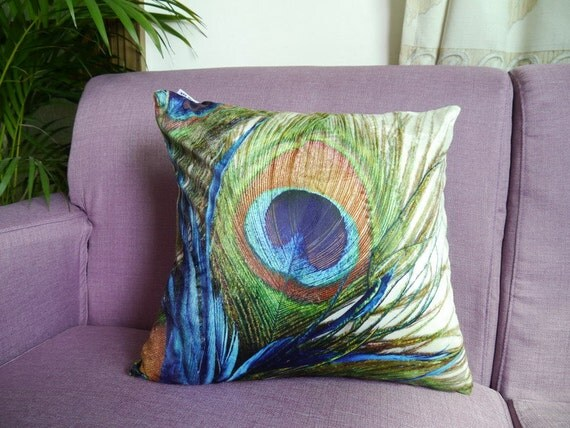 Modern decorative high quality Velvet throw pillow cushion cover peacock feather design on both sides optional sizes wholesale Available