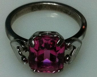 1950s STERLING SILVER Ring with Pink Stone    Size 6