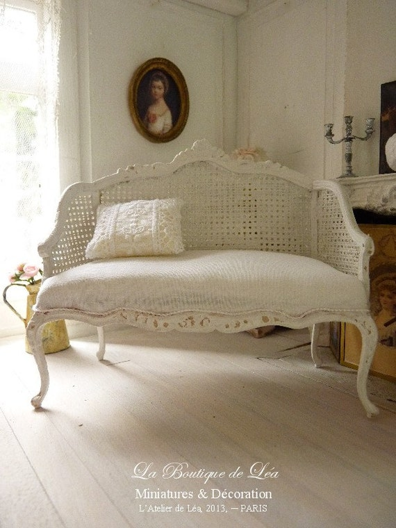 Shabby French white sofa, early 18 th century, Louis XV - Canage imitation - French dollhouse furniture, 1:12 th scale