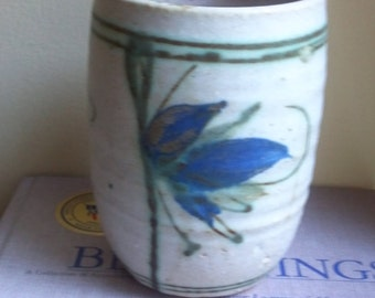 Blue and White Stoneware Container for Pencils, Kitchen Utensils, Flowers - Made on Potter's Wheel - Hand Painted Glazed Design