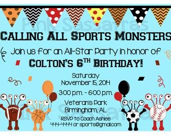 Sports Monster Birthday Invitation