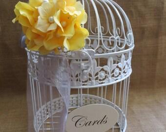 PIck your flowers - Large White Wedding BirdCage Card Holder, Wedding Card Box, Wedding Money Holder, Wedding Money Box, Gift Card Holder