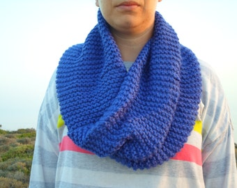 free worldwide shipping, blue handmade knit wool cowl, neckwarmer, infinity scarf, ready to ship