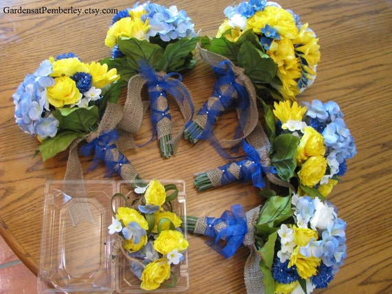 Blue hydrangea yellow ranunculus silk bridal bouquet bridesmaids