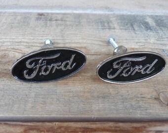 FORD Knob - Black with Script logo Knob Cabinet Drawer Pull - Auto car knobs Garage Decor - USA Vintage Style Black Oval