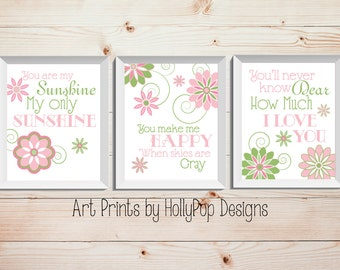 Pink Green Nursery Decor You are My Sunshine Lyrics Set of 3 Art Prints Baby Girls Room Wall Decor Floral Wall Art Inspirational Song Lyric