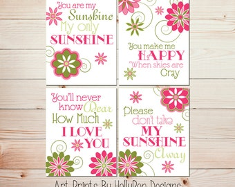 Nursery Decor You are My Sunshine Baby Girls Room Wall Art Pink Green Nursery Wall Decor Nursery Trio Art Print Set #0677