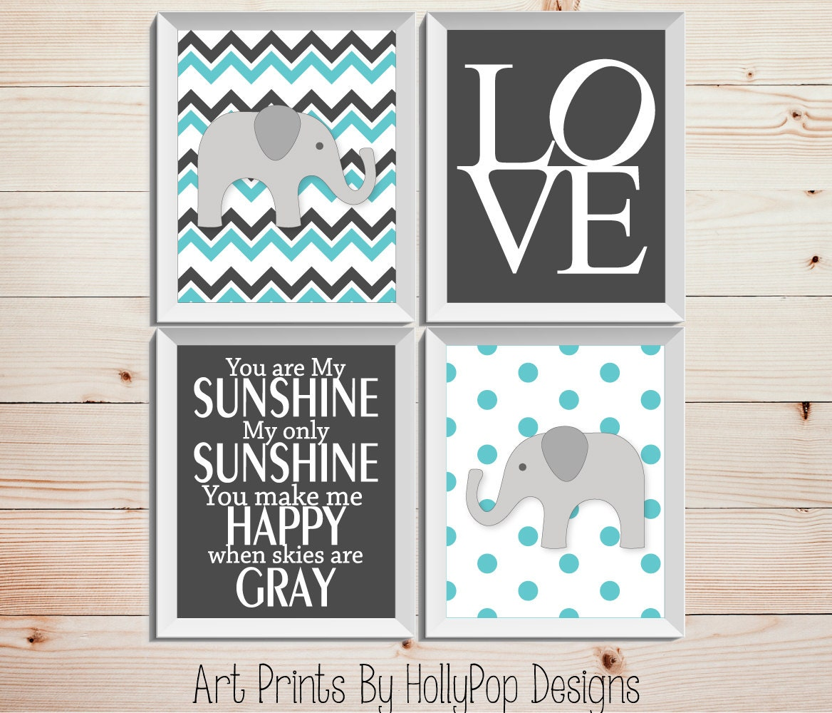 Nursery Wall Decor Aqua Gray Art Prints Set Of 4 Prints Modern