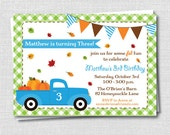 Fall Truck Birthday Invitation - Fall Themed Birthday Party - Harvest Party - Digital Design or Printed Invitations - FREE SHIPPING
