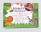 Girl Photo Jungle Birthday Invitation -  Jungle Themed Party - Digital Design or Printed Invitations - FREE SHIPPING