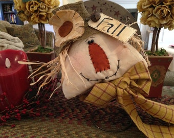 Fall or Thanksgiving Primitive Scarecrow Head Nodder on a Rusty Spring or Table Sitter