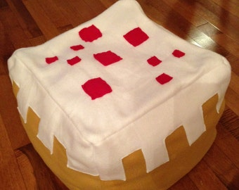 Minecraft Inspired Birthday Cake Fleece Block Pillow or Toy, Handmade