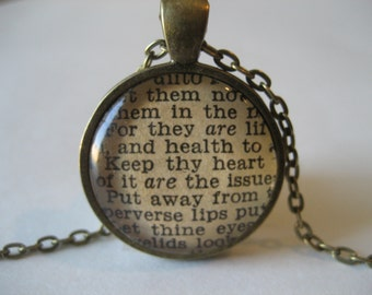 Let Them Not Depart From Thine Eyes Scripture Necklace Bible Verse Proverbs 4:21-24 From an Antique Bible OOAK