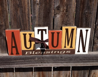 Autumn Blessings wood blocks-Fall Thanksgiving large wood block set