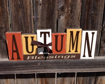 Autumn Blessings wood blocks-Fall, Thanksgiving wood blocks