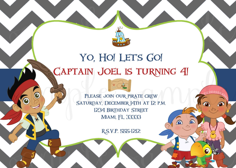 Jake and the Neverland Pirates Birthday Invitation Invite