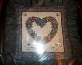 VINTAGE BUCILLA Needlepoint Kit Hearts And Flowers 4509 Never Opened Pillow