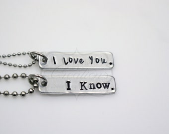 Hand-Stamped Couples Necklaces Set