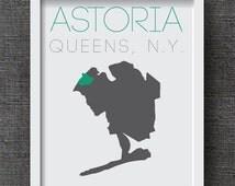 Custom Queens Neighborhood Map -  Queens Art Print - NYC Art Print, New York City Art - 8x10 or 11x14  Art Print