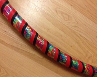 Red, Black & Rainbow Tie Dye Sparkly Taped Infinity Collapsible Beginner Adult Hula Hoop