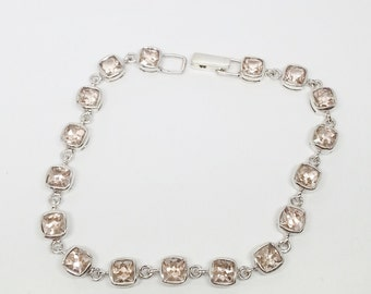 9.51ctw Morganite Solid 925 Sterling Silver Bracelet Size 7.5 inch